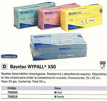 KIMBERLY-CLARK BAYETAS MULTIUSOS WYPALL X50 50 UD 250X420 AZUL DESECHABLES 7441