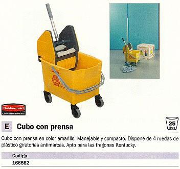 RUBBERMAID CUBOS LIMPIEZA 25L AMARILLO RUEDAS CON PRENSA 166562