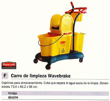 RUBBERMAID CARROS LIMPIEZA 975X1168X552 3 BANDEJAS BOLSA 6173-01-BLA