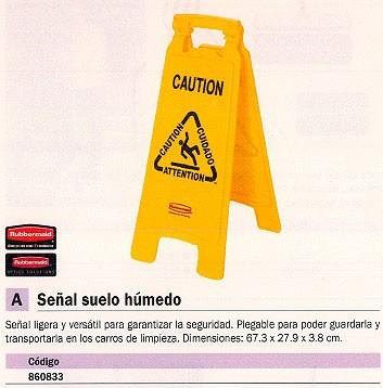 RUBBERMAID SEÑAL SUELO MOJADO 67,3X 27,9X 3,8CM PLEGABLE 860833