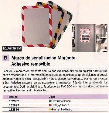 TARIFOLD MARCO SEÑALIZACIÓN MAGNETO ADHESIVO REMOBIBLE A4 AMARILLO-NEGRO PACK 2 194974