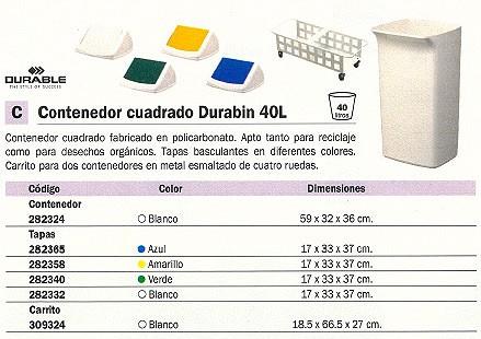 DURABLE CONTENEDORES DURABIN 40L 605X310X240 40L BLANCO POLICARBONATO 282324