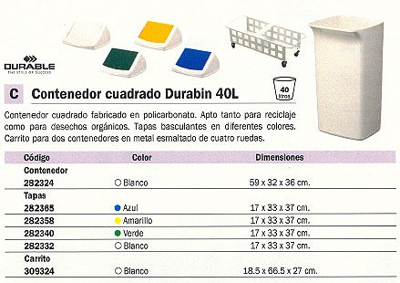 DURABLE TAPAS CONTENEDORES DURABIN 40L 170X315X325 MM VERDE PARA DURABIN 40L 282340