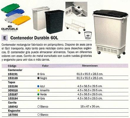 DURABLE CONTENEDORES DURABIN 60L 615X555X285 60L NEGRO ASAS POLIPROPILENO 1800496221