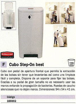 RUBBERMAID CONTENEDORES STEP-ON BEST 940X540X410 100L BLANCO ASA PEDAL 166602