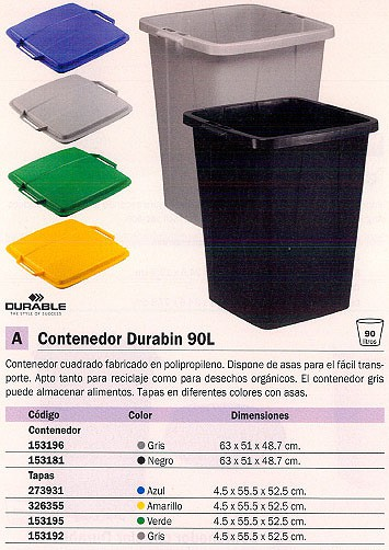 DURABLE TAPAS CONTENEDORES DURABIN 90 L 45X555X525 AMARILLO 326355