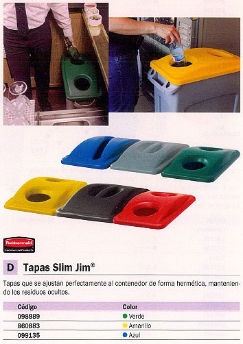 RUBBERMAID TAPAS CONTENEDORES SLIM JIM AZUL PARA SLIM JIM 099135