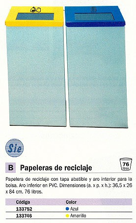 SIE PAPELERAS RECICLAJE 150 365X260X840 76L AMARILLO BRICKS 150-PL-AM