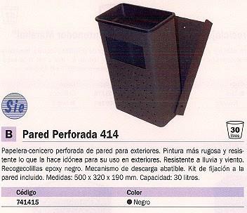 SIE CENICERO-PAPELERA DE PARED METALICA NEGRO 30 LITROS 414-O