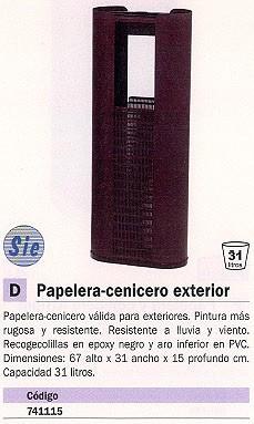 SIE CENICERO PAPELERA METÁLICO 31 LITROS EXTERIOR 411 O