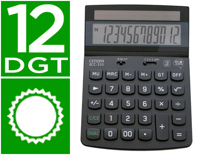 CITIZEN CALCULADORA CITIZEN SOBREMESA ECO ECC 310 12 DIGITOS ECC-310
