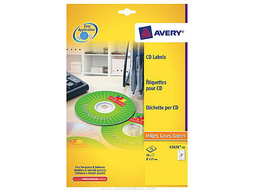AVERY ETIQUETAS MULTIMEDIA PARA CD/DVD CAJA 25 HOJAS 117 MM INKJET/LASER BLANCO L7676-25