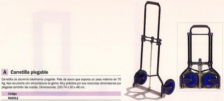 MARCA BLANCA CARRETILLA PLEGABLE ALUMINIO EMPUÑADURA DE GOMA 601912