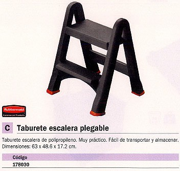 RUBBERMAID TABURETE 2 PELDAÑOS POLIPROPILENO PLEGABLE 178030