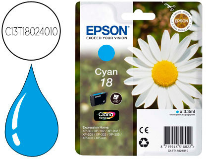EPSON CARTUCHO DE TINTA CÍAN C13T18024012 T1802 180 COPIAS 3.3ML ESTÁNDARD
