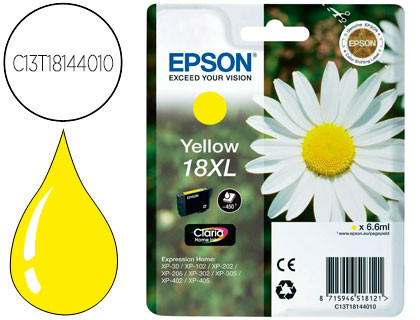 Cartucho de Tinta Amarillo Claria Home Alta Capacidad Epson 18XL