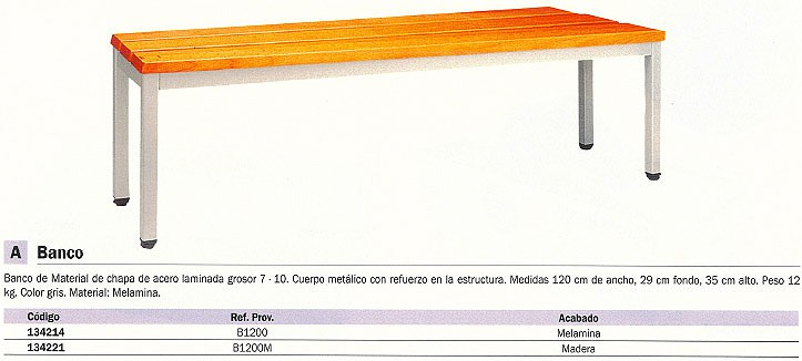EVP BANCO 1200X290X350 MM GRIS CHAPA DE ACERO LAMINADA ACABADO MADERA B1200M_G1