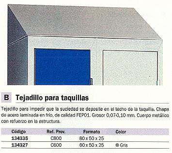 EVP TEJADILLO PARA TAQUILLA ACERO LAMINADO 600X500X250 GRIS C600_G1