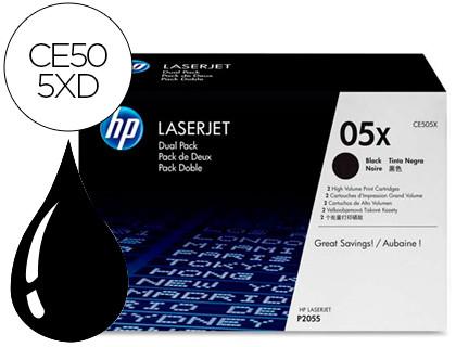 CARTUCHO DE TÓNER NEGRO PACK 2 ALTA CAPACIDAD HP 05X para LaserJet P3015X