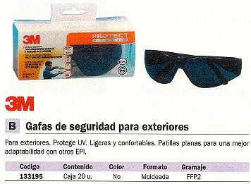 3M GAFAS DE SEGURIDAD PARA EXTERIORES PROTEGE UV DE272932950