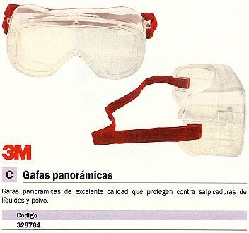 ENVASE DE 6 UNIDADES 3M GAFAS PANORAMICAS PROTEGEN CONTRA LIQUIDO Y POLVO DE272934295