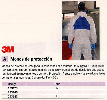 3M MONO PROTECCIÓN PACK 20 UD TALLA M FT510284258