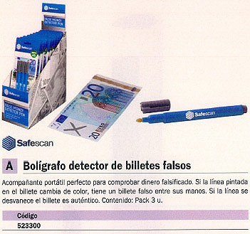SAFESCAN DETECTOR BILLETES FALSOS S-30 135X15X10MM 135X15X10 111-0379