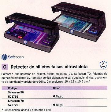 SAFESCAN DETECTOR BILLETES FALSOS S-70 206X102X88MM ULTRAVIOLETA 131-0398