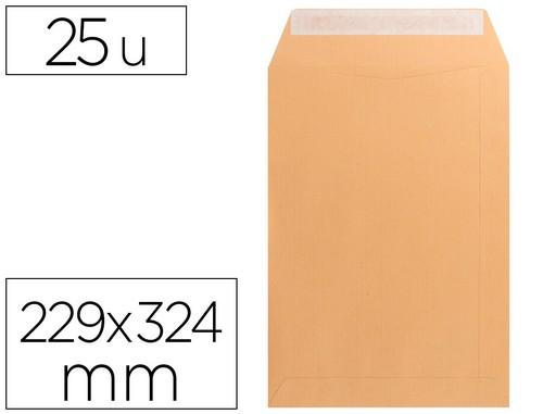 Sobres bolsas de papel LIDERPAPEL BOLSA N 7 KRAFT DIN C4 229X324 MM TIRA DE SILICONA PAQUETE DE 25 UNIDADES