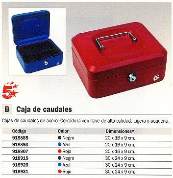 5 STAR CAJA DE CAUDALES ACERO 20X16X9 CM ROJO CERRADURA CON LLAVE
