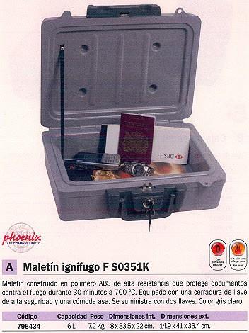 PHOENIX MALETIN IGNIFUGO FS0351K 14,9X41X33,4 2 LLAVES 2 LLAVES GRIS FS0351K