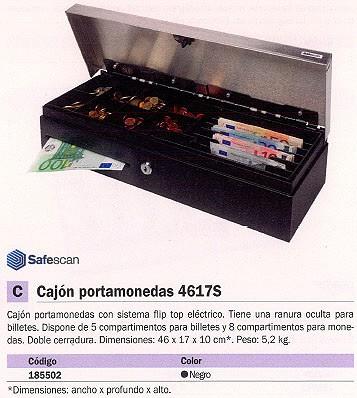 SAFESCAN CAJON PORTAMONEDAS SD-4617S 460X170X100 6 DE BILLETES Y 8 DE MONEDAS LLAVE ELECTRONICA 123-0309 REF.