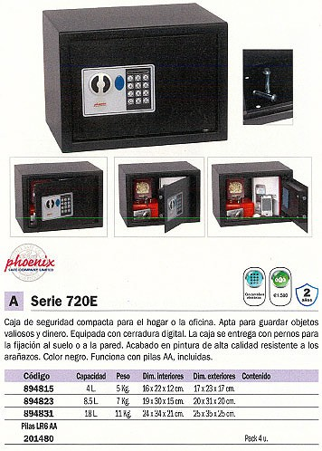 PHOENIX CAJA FUERTE SERIE 550720 E 180X240X170 4L CERRADURA ELECTRONICA SS0721E