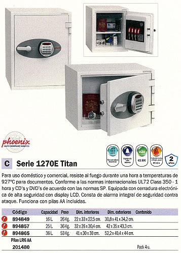 PHOENIX CAJA FUERTE FS1270E TITAN II 522X404X444 MM 36L CERRADURA ELECTRONICA IGNIFUGO FS1273E