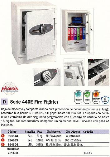 PHOENIX CAJA FUERTE FS0440E FIRE FIGHTER 1145X655X560 MM 146L CERRADURA ELECTRONICA IGNIFUGO 440