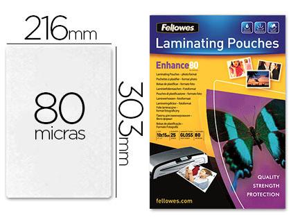 Bolsas de plastificar BOLSA DE PLASTIFICAR FELLOWES BRILLO DIN A4 80 MICRAS PACK 25