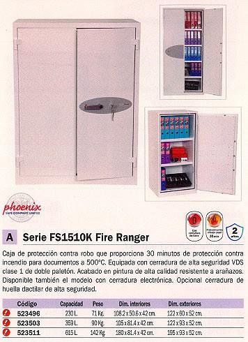 PHOENIX CAJA FUERTE FS1510K FIRE RANGER 1950X930X520 MM 615L CERRADURA LLAVE. IGNIFUGO FS1513K