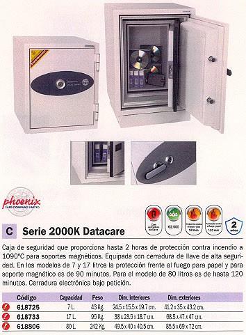 PHOENIX CAJA FUERTE DS2000K DATACARE 685X470X470 17L CERRADURA CON LLAVE IGNIFUGO 2002