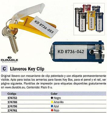 DURABLE LLAVEROS KEY CLIP PACK 6UD CON ETIQUETA VISIBLE NEGRO 174753
