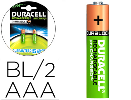 Pilas alcalinas PILA DURACELL RECARGABLE STAYCHARGED AAA 800 MAH BLISTER DE 2 UNIDADES