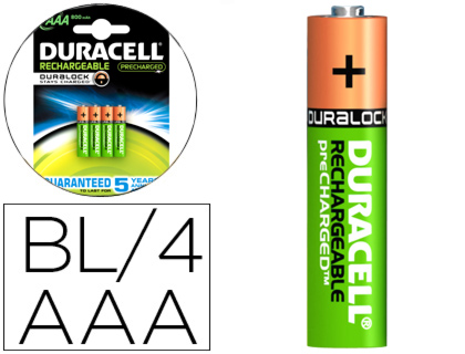 PILA DURACELL RECARGABLE STAYCHARGED AAA 800 MAH BLISTER DE 4 UNIDADES 81241741