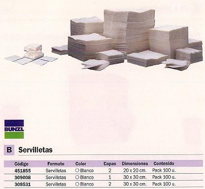 BUNZL SERVILLETAS PACK 100 UD 30X30CM BLANCO 19287