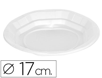 Catering MARCA BLANCA PLATO DE PLASTICO BLANCO LLANO 17CM DE DIAMETRO PAQUETE DE 50