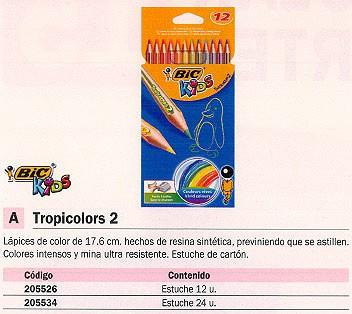 BIC LAPICES COLORES TROPICOLORS 2 ESTUCHE 12 UD MINA ULTRA RESISTENTE COLORES SURTIDOS 832566