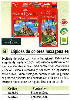 FABER CASTELL ESTUCHE LAPICES COLORES SURTIDOS 24 UD MADERA HT-120124