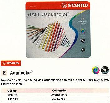 STABILO LAPICES COLORES AQUACOLOR ESTUCHE METALICO 24 UD COLORES SURTIDOS ACUARELABLES 1624-6