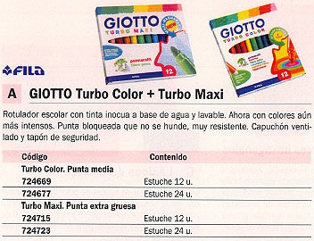 FILA ROTULADORES TURBO COLOR ESTUCHE 12 UD PUNTA MEDIA COLORES SURTIDOS 416000