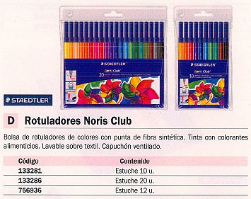 STAEDTLER ROTULADORES ROTULADORES NORIS CLUB BOTE 20 UD LAVABLE COLORES SURTIDOS 326 WP20