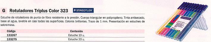 STAEDTLER ROTULADORES TRIPLUS COLOR 323 ESTUCHE 10 UD PUNTA FIBRA 323 SB10
