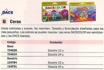DACS ESTUCHE CERAS DACS COLORES SURTIDOS 24 UD NO MANCHAN DC050295